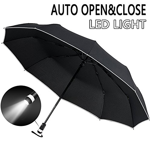 Price comparison product image LST Auto Golf Umbrella Folding Compact Large Travel Umbrella Doulbe Layer Big for Car and Outdoor Use Windproof and UV Proof with LED light & Reflective Stripe - Black
