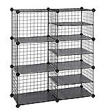 SONGMICS Cube Storage Unit, Interlocking Metal Wire Organizer with Divider Design, Modular Cabinet, Bookcase for Closet Bedroom Kid's Room, 32.7 L x 12.2 W x 36.6 H Inches, Black ULPI36H