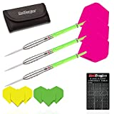 Red Dragon Retros: 26g - 90% Tungsten Steel Darts with Flights, Shafts, Wallet & FREE Red Dragon Checkout Card