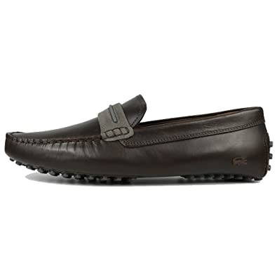 3ba66158b0252d Lacoste Footwear Herron 317 Dark Brown Leather Slip On Loafer Shoes 10(44)