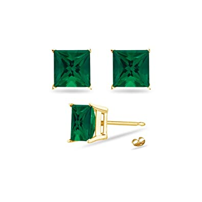 38460304c43c5 3.94-5.39 Cts of 8 mm AAA Princess Russian Lab Created Emerald Stud  Earrings in 14K Yellow Gold