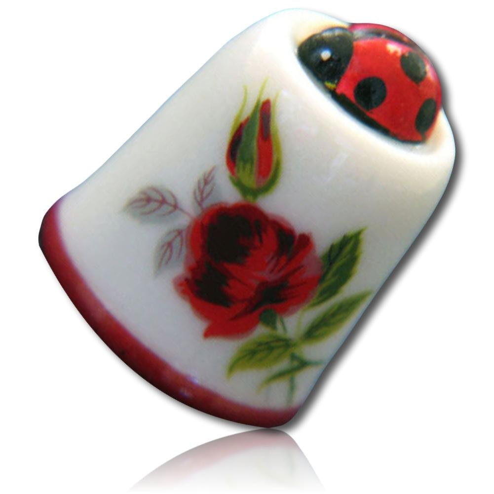 Custom & Collectible {25mm Hgt. x 19mm Dia.} 1 Single, Mid-Size Sewing Thimble Made of Fine-Grade Porcelain Glass w/ Decorative Outdoor Nature Lover Garden Lady Bug Insect & Rose Design {Multicolor} by mySimple Products