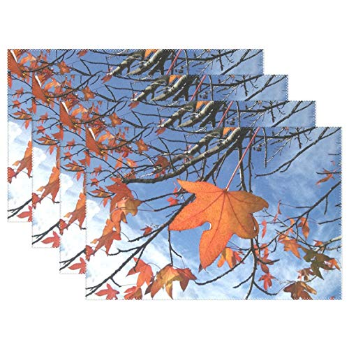 Leaves Leaf Autumn Colors Fall Tree Sky Plant Placemats Set Of 4 Heat Insulation Stain Resistant For Dining Table Durable Non-slip Kitchen Table Place Mats for $<!--$21.00-->