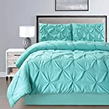 Turquoise King Size Comforter Sets 4 Pieces Double-Needle Stitch Goose Down Alternative Pinch Pleat Solid TURQUOISE BLUE Comforter Set KING Size Bedding - Hypoallergenic, Plush Siliconized Fiberfill