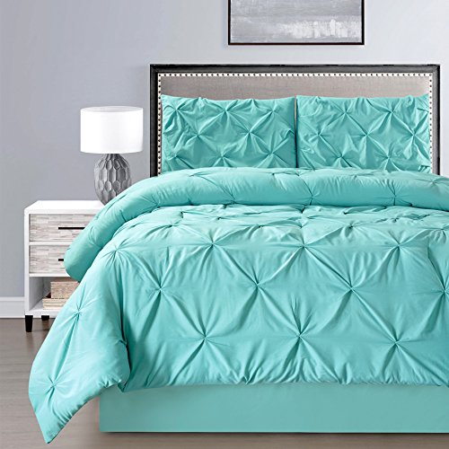 3 Piece Solid Turquoise Blue Pinch Pleat Duvet Cover Set