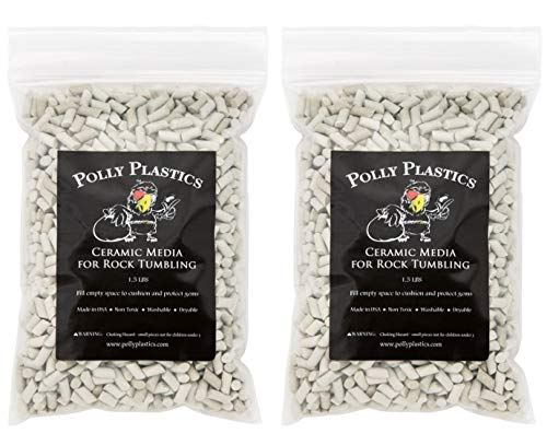 Polly Plastics Rock Tumbling Ceramic Filler Media (Small Cylinder Size) Porcelain Ceramic Pellets for Barrel and Vibratory Tumblers (3 lbs)