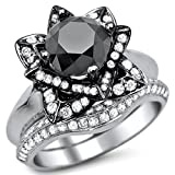 Smjewels 3.35 Ct Round Black Sim.Diamond Lotus Flower Engagement Ring Set In 14K White Gold Fn