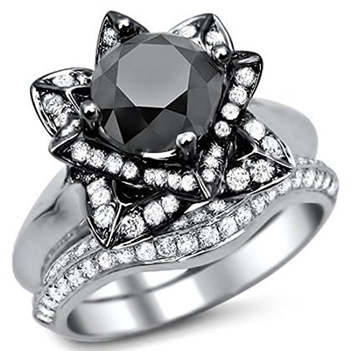 Smjewels 3.35 Ct Round Black Sim.Diamond Lotus Flower Engagement Ring Set In 14K White Gold Fn by Smjewels (Image #2)