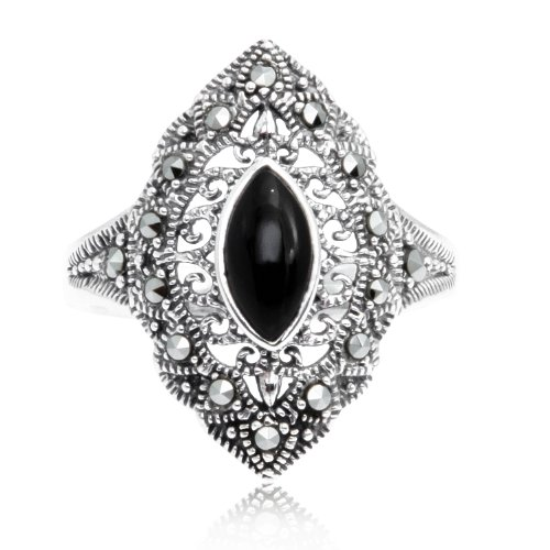 Chuvora 925 Oxidized Sterling Silver Marcasite Marquise Black Onyx Ring Size ()