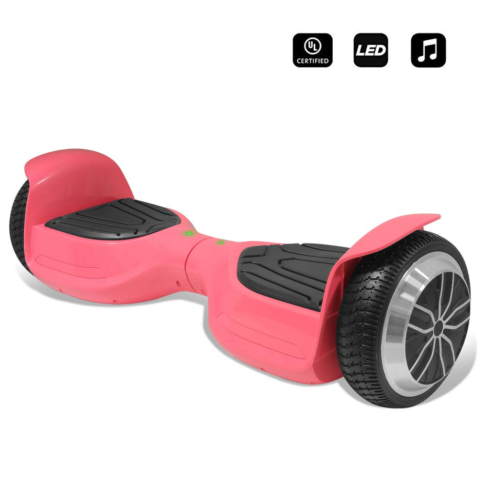 CHO 6.5'' inch Wheels Electric Smart Self Balancing Scooter Hoverboard with Bluetooth Speaker LED Light - UL2272 Certified (Pink)