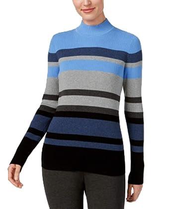 e8bea85001a Karen Scott Cotton Striped Mock-Turtleneck Sweater at Amazon Women s  Clothing store