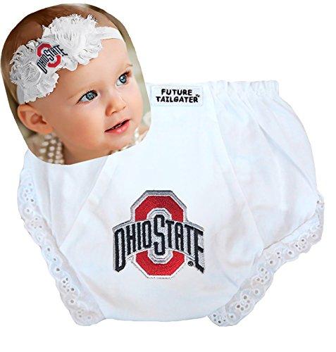Future Tailgater Ohio State Buckeyes Baby Shabby Flower Headband and Diaper Cover Set (Newborn - 6 Months)