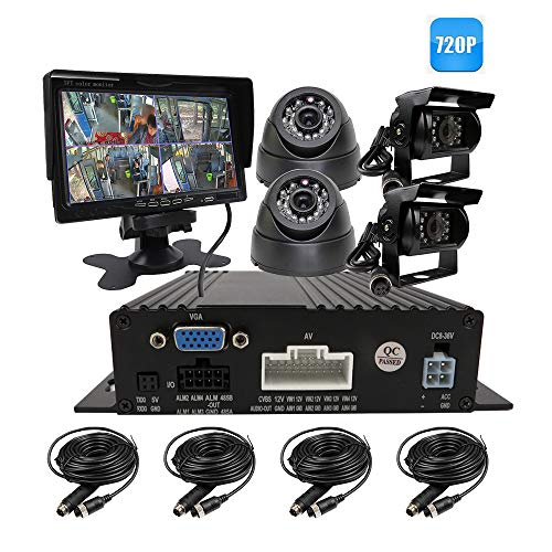 (JOINLGO 4 Channel H.264 720P AHD 512GB SD Vehicle Car DVR MDVR Video Recorder CCTV Surveillance Real-time Monitoring System with 4 Pieces Rear View InCar Dome IR Car Camera 7 inch Car Monitor LCD)