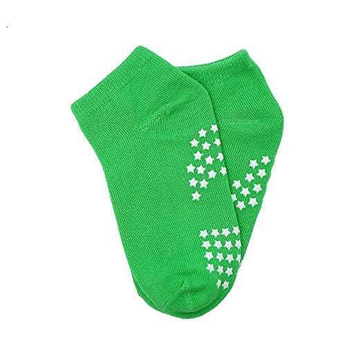 Luwint Children Skidproof Trampoline Socks - Ventilate Elastic Yoga Bounding Table Socks for Kids Boys Girls, 2 Pairs (Green 4-8 yrs -