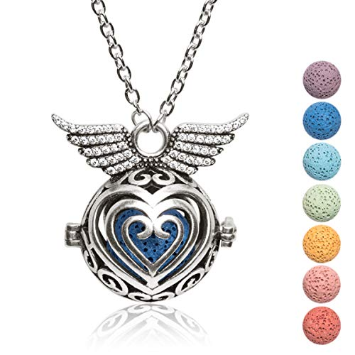 Kayder Antique Silver Angel Wing Filigree Heart-Shaped Locket Essential Oil Diffuser Aromatherapy Pendant Necklace with 7 Color Yoga Chakra Lava Rock Bead Inserts, 20