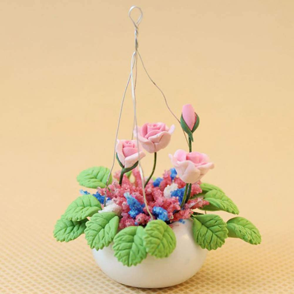 Dollhouse Miniature Ceramic Potty w// Pink Rose Stems