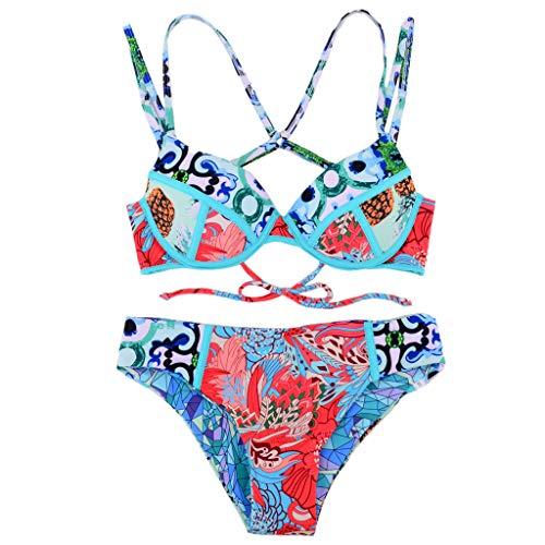 (Weiyun Women's Print Swimwear Sexy Two-Piece Swimwear Swimsuit Bikini Blue)