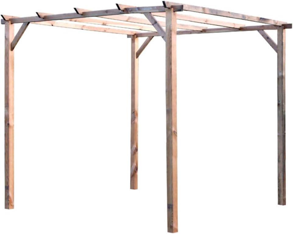 Verdelook - Cenador de madera sin cubierta, 3 x 3 m, para decoración exterior y jardín: Amazon.es: Jardín