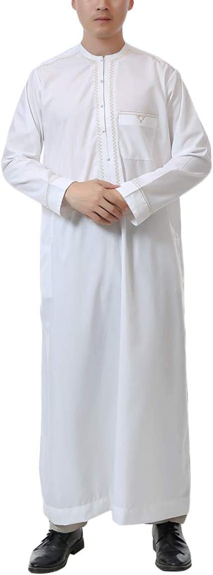MEYINI Kaftan Árabe Islámico Hombres - Musulmán Saudita Manga Larga Thobe Turco Dubai Thawb Kandoura: Amazon.es: Ropa y accesorios