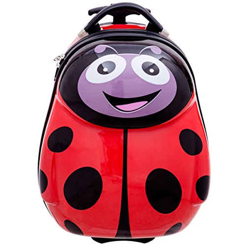Goplus 2Pc 13'' 19'' Kids Carry On Luggage Set Travel Trolley Suitcase (Ladybug) by Goplus (Image #2)