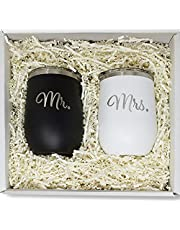 Mr & Mrs Wine Tumblers - Couples Gift for Weddings, Newlyweds, Engagements, Anniversaries, House Warming Presents, Him and Her 12oz Tumblers