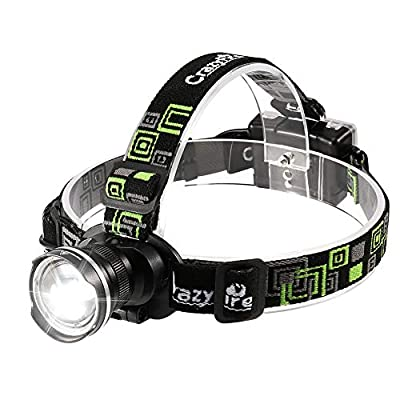CrazyFire LED Headlamp, Super Bright Headlamp Headlight Flashlight, 3 Modes Zoomable Headlamps for Runing,Hiking,Camping,Fishing,Hunting