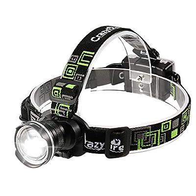 CrazyFire LED Headlamp, Super Bright Headlamp Headlight Flashlight, 3 Modes Zoomable Headlamps Runing,Hiking,Camping,Fishing,Hunting(Black)