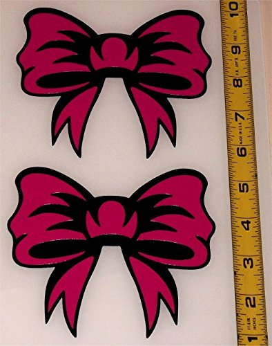Decorative Ribbon Bow! Set of 2 Hot Pink on High Gloss Black HQ Vinyl Decals! (Fancy Dress Cave Girl)