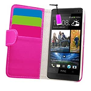 Samrick Executive Specially Designed Soft Leather Book Wallet Case with Credit Card/Business Card Holder with Screen Protector, Microfibre Cloth, High Capacitive Mini Stylus Pen for HTC One Mini - Pink by SAMRICK
