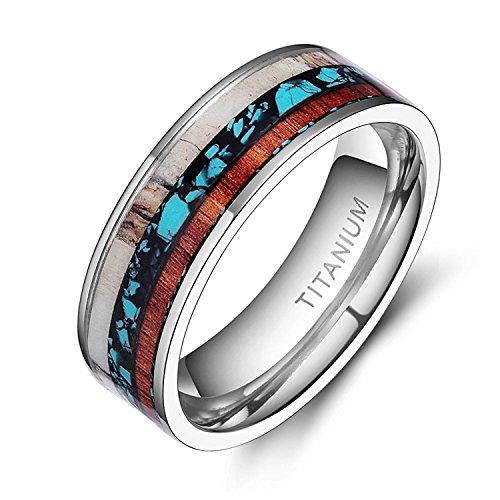 Wood Deer Antlers Turquoise Inlaid Titanium Flat Wedding Ring (9)