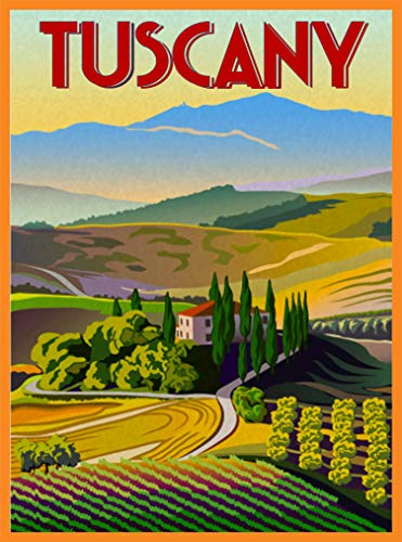 A SLICE IN TIME Tuscany Tuscan Italia Italy Italian Europe Scenic Retro Travel Home Collectible Wall Decor Advertisement Art Poster Print. 10 x 13.5 inches
