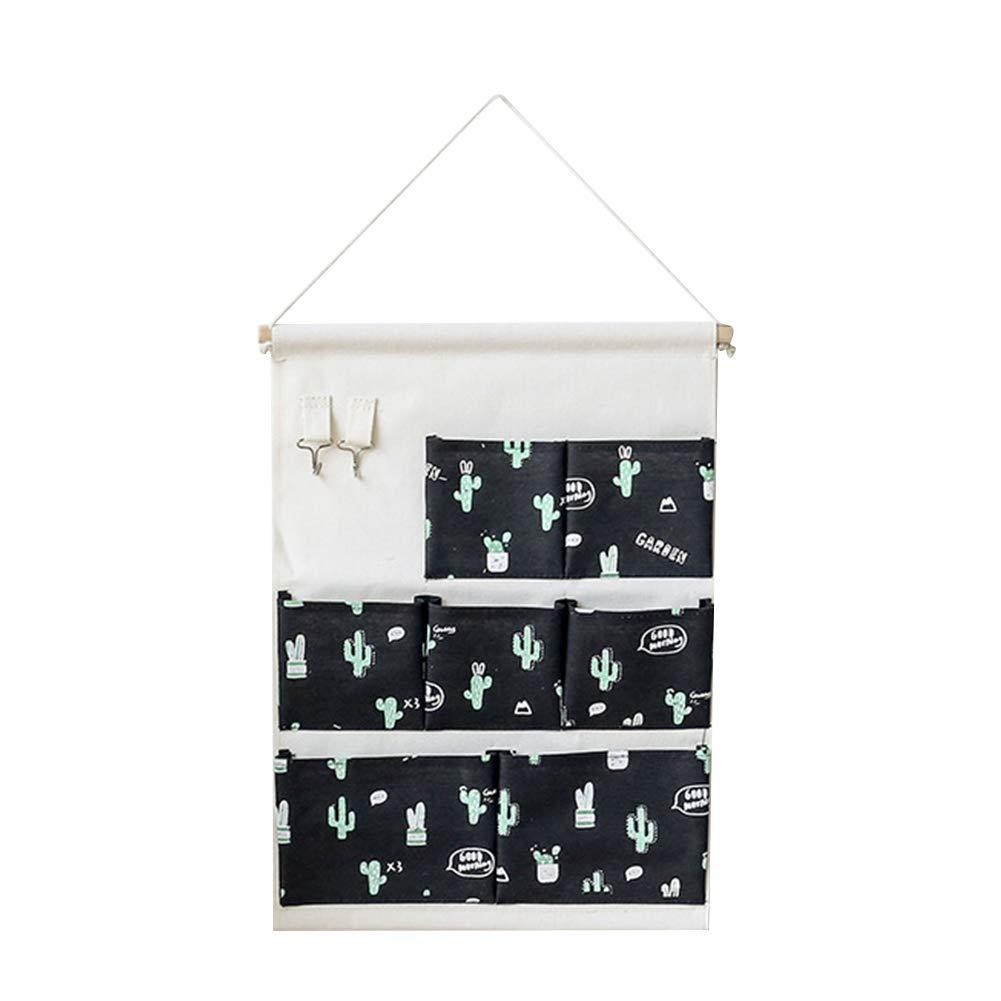 Outflower. 1pcs Cactus wall hanging bag 7 plaid storage bag appeso a parete in tela di cotone appeso a parete sacchetto di immagazzinaggio multistrato (Bianco)