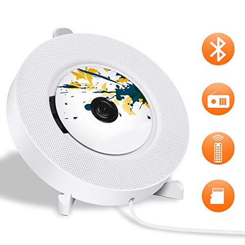 Portable CD Player with Bluetooth, LUCKYDIY Wall Mountable CD Player,Home Audio Boombox with Remote Control FM Radio, Built-in HiFi Speakers with MP3 Headphone 3.5 mm Jack/AUX Input Output, White