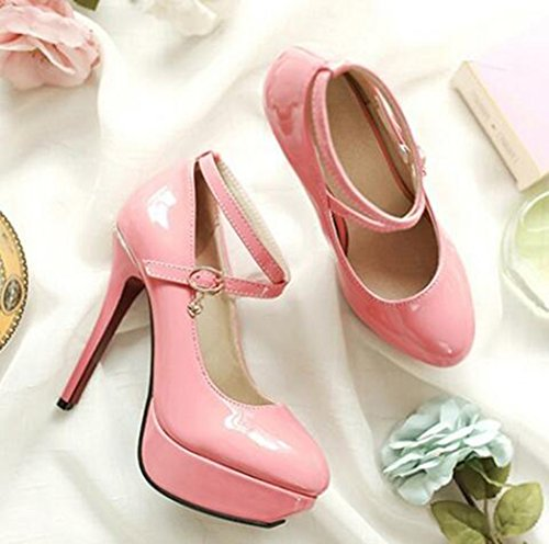 Easemax Womens Elegant Patent Cross Strap Buckle Pendant Round Toe Low Top Platform High Stiletto Heel Pumps Shoes Pink N7lLw1hWBK