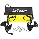 A2ZCare Agility Ladder - Speed Ladder - Speed Training Tool for Footwork, Soccer, Athletic, Basketball and Sport Training Drills - Speed Ladder with Carry Bag and 4 Stakes - Yellow