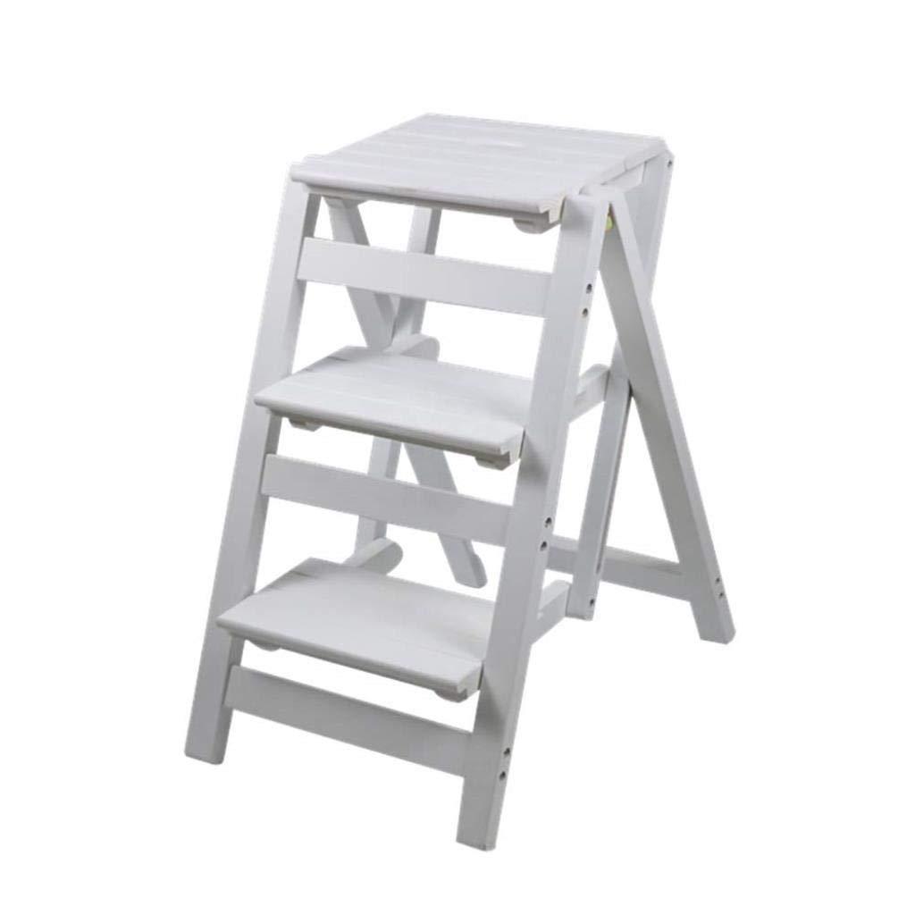 3ステップラダースツール多機能折りたたみ階段チェアデュアルユースステップスツールホーム無垢材製ラダーステップスツール WJMYYX (Color : White) B07SFMMQ4Q White