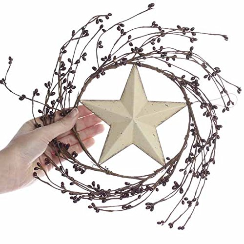 Factory Direct Craft Decorative Hand Wrapped Burgundy Pip Berry Wreath with Ivory Metal Barn Star Center ()