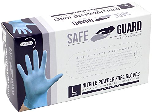 SAFEGUARD Nitrile Powder Free Gloves, Blue, Medium, 1000 Count by Safeguard (Image #2)