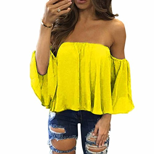 DaySeventh Women Fashion Pullover Tops Off Shoulder Casual Jeans Blouse (L, Yellow) from DaySeventh