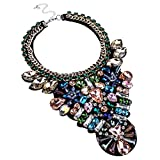 gem clear - Jerollin Bling Fashion Handmade Gems Clear Multi-color Glass Beads Statement Pendant Necklace