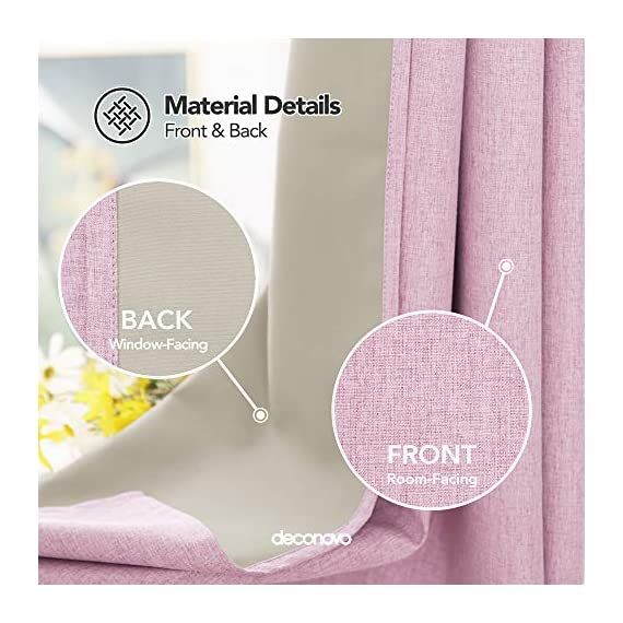 Deconovo Faux Linen 100 Blackout Curtains Grommet Thermal Insulated Noise Reducing Room Darkening Draperies for Children' Room 52x84 Inch Set of 2 Panels Pink - Deconovo faux linen blackout curtains are made of 100 percent high quality polyester. Imported, Constructed with 3 layers, our heavy blackout curtains have a faux linen look, are smooth and pleasant to touch. These total blackout curtain can completely block the light from getting you're your room. Once closed, these curtain panels will protect your privacy as they are not see-through and are also noise reducing. Our thermal insulated curtains are energy efficient, fashioned to help in reducing the amount of heat that gets into your room in summer and or goes out of the room through the windows in winter. - living-room-soft-furnishings, living-room, draperies-curtains-shades - 51byQvDGSmL. SS570  -