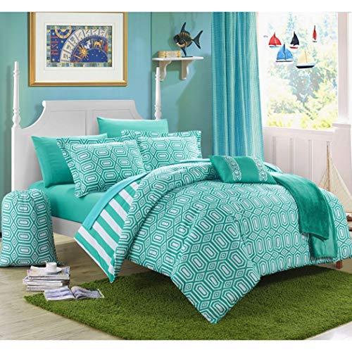 8 Piece Girls Teen Aqua Geometric Themed Comforter Twin XL Set, Beautiful Multi Hexagon Pattern, Stylish Horizontal Striped Bedding, All Over Vertical Stripes, Fun Diamond Style, Teal Blue White