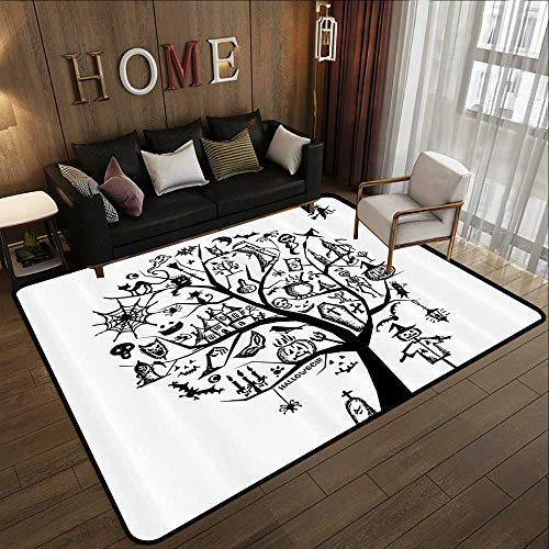Living Room Rugs,Halloween Decorations,Sketch Style Halloween Tree with