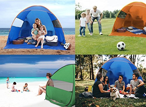 FiveJoy Instant Pop Up Beach Shade Tent with UV Protection - Easy Setup and Transport - Must Have Sun Shelter for Families with Babies and Toddlers - Great for Picnics, Barbecues, Open-Air Concerts …