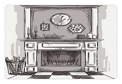 Ambesonne Fireplace Pet Mat for Food and Water, Greyscale Sketchy Illustration of Cozy Edge of Home with Log Fire, Rectangle Non-Slip Rubber Mat for Dogs and Cats, Pale Taupe Dimgray White