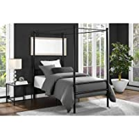 Moder Design Canopy Bed Made of Metal Twin in Black