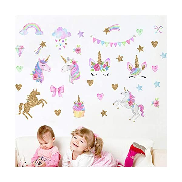 MLM Unicorn Wall Decals, Unicorn Wall Sticker Decor with Heart Flower for Kids Rooms Birthday Gifts for Girls Boys Bedroom Nursery Home Party Home Decor 5
