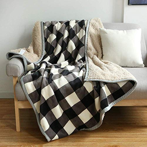 (Abreeze Sherpa Throw Blanket Buffalo Checkered Blanket for Bed Couch Decorative Reversible Throw Super Soft All Seasons Blanket 50''x60'' Plaid White/Black)