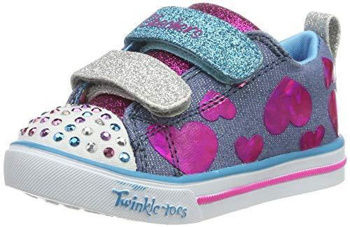Skechers Kids Girls' Sparkle LITE-Flutter FAB Sneaker, Denim/Multi, 9 Medium US Toddler