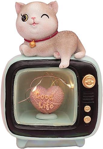 HIL Cat TV LED Luz De La Noche Lámpara De Mesa De Dibujos Animados De Resina, Mesa De Noche Decoración De La Lámpara De Iluminación De Dibujos Animados De Juguete Niños Verde: